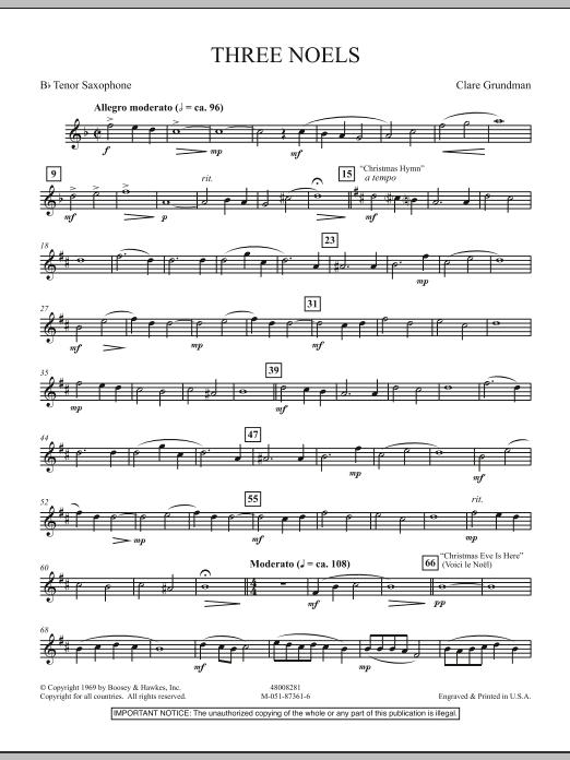 Three Noels - Bb Tenor Saxophone (Full Orchestra)