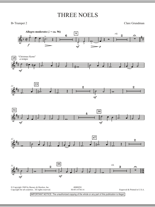 Three Noels - Bb Trumpet 2 (Full Orchestra)