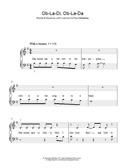 Ob La Di Ob La Da Sheet Music The Beatles 5 Finger Piano
