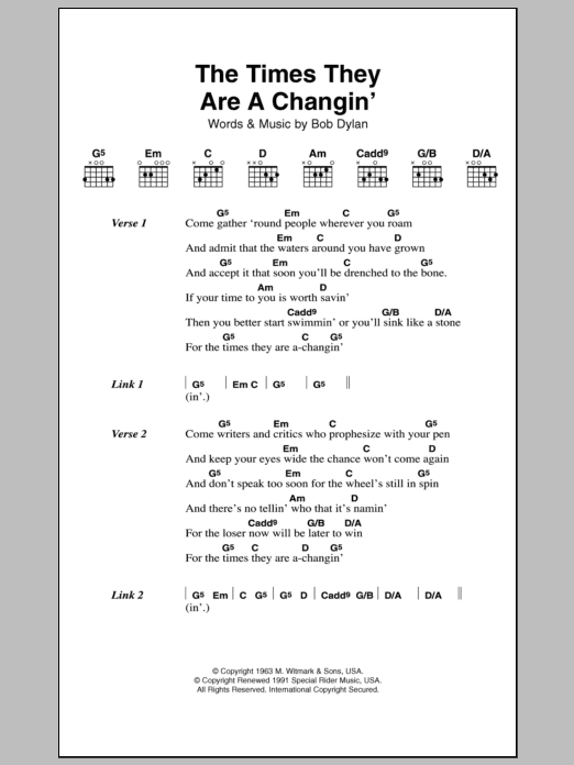 The Times They Are A Changin Sheet Music Direct