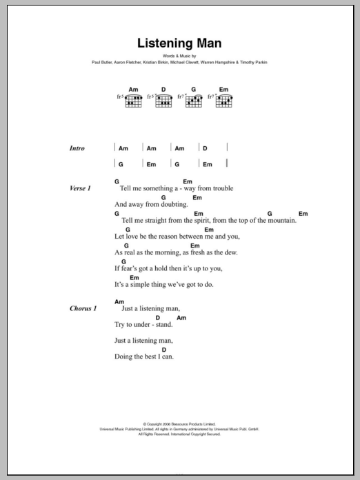 Listening Man by The Bees - Guitar Chords/Lyrics - Guitar Instructor