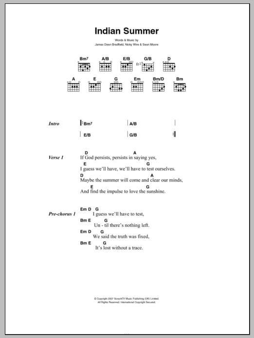 Indian Summer Sheet Music