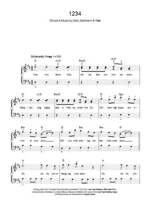 1234 Sheet Music Feist Beginner Piano