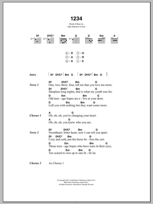 1234 by Feist - Guitar Chords/Lyrics - Guitar Instructor