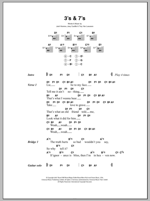3\'s & 7\'s by Queens Of The Stone Age - Guitar Chords/Lyrics - Guitar ...
