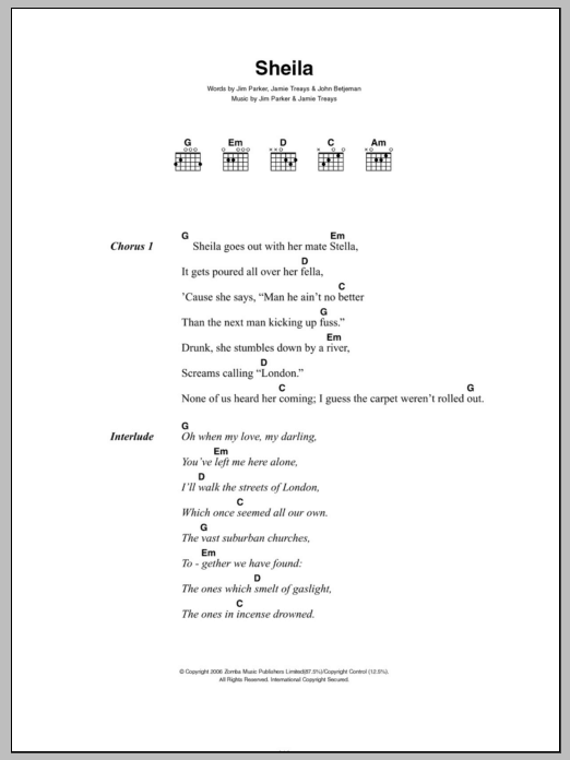 Sheila Sheet Music