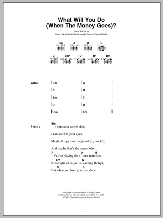 What Will You Do (When The Money Goes) Sheet Music