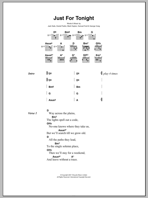 Just For Tonight Sheet Music