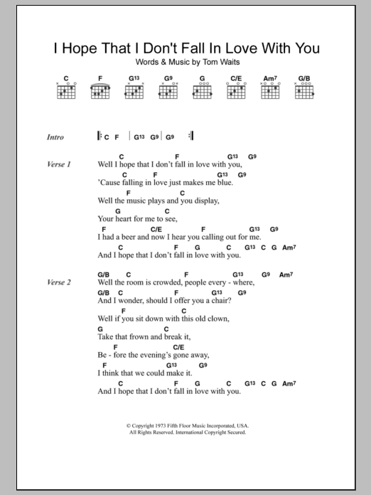 I Hope That I Dont Fall In Love With You Sheet Music Direct
