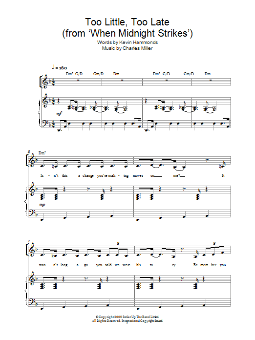 Too Little Too Late (From When Midnight Strikes) Sheet Music