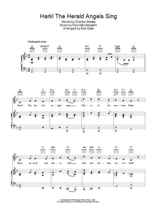 Hark! The Herald Angels Sing (Piano, Vocal & Guitar)