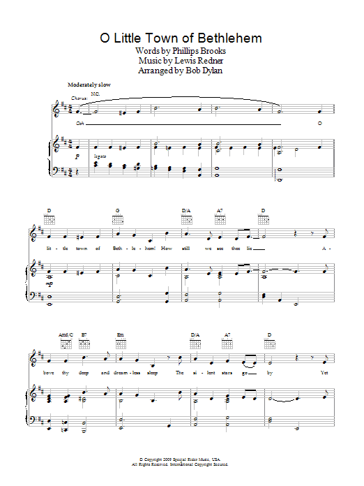 O Little Town Of Bethlehem (Piano, Vocal & Guitar)