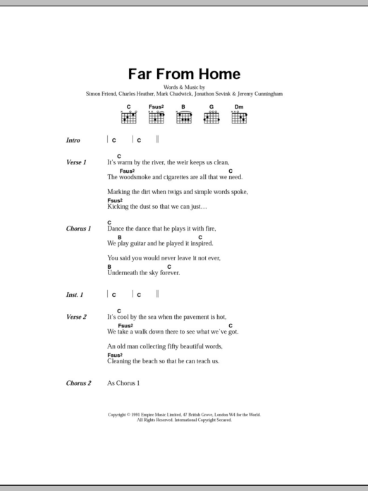 Far From Home By The Levellers Guitar Chordslyrics Guitar