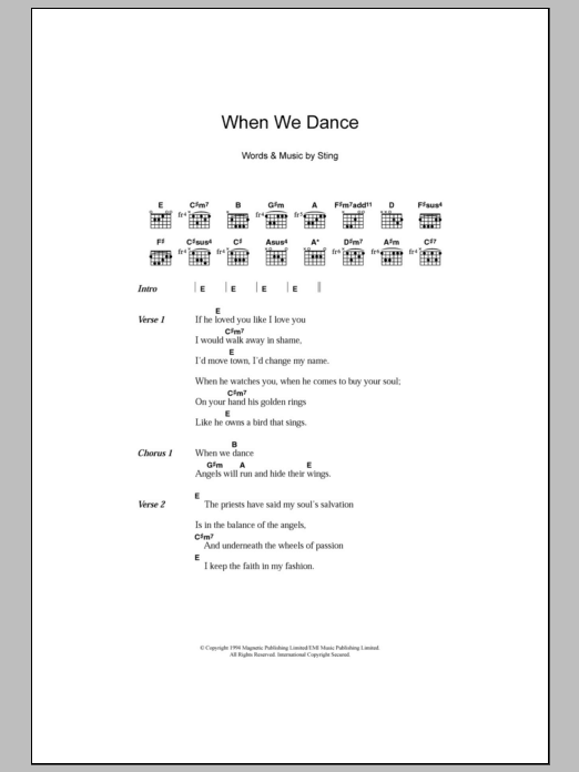 When We Dance Sheet Music