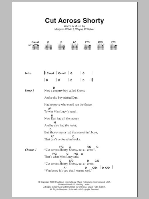 Cut Across Shorty Sheet Music