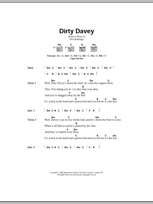 Dirty Davey Sheet Music