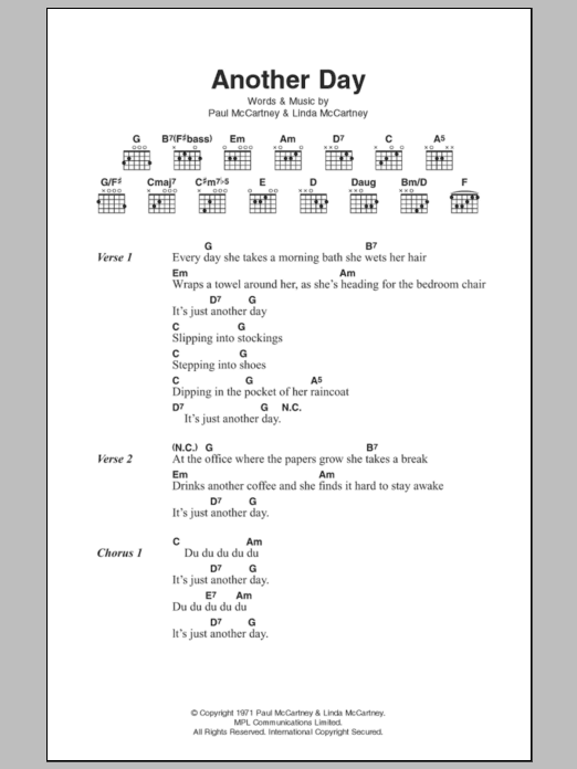Another Day Sheet Music