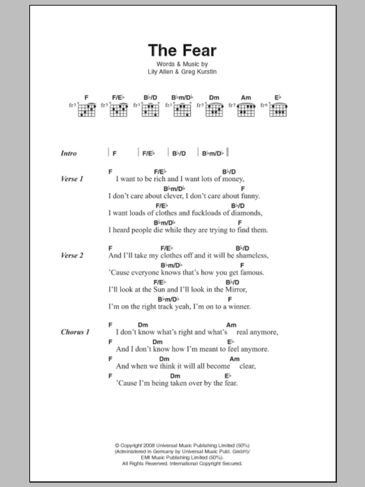 The Fear Sheet Music