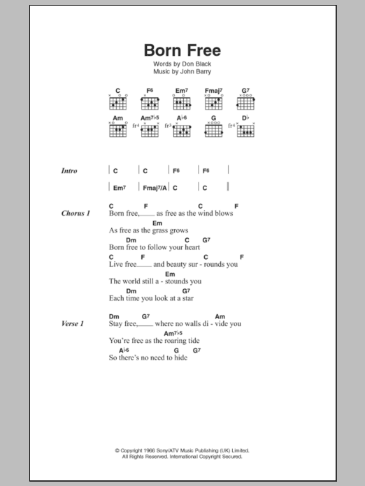 Born Free by Matt Monro - Guitar Chords/Lyrics - Guitar Instructor