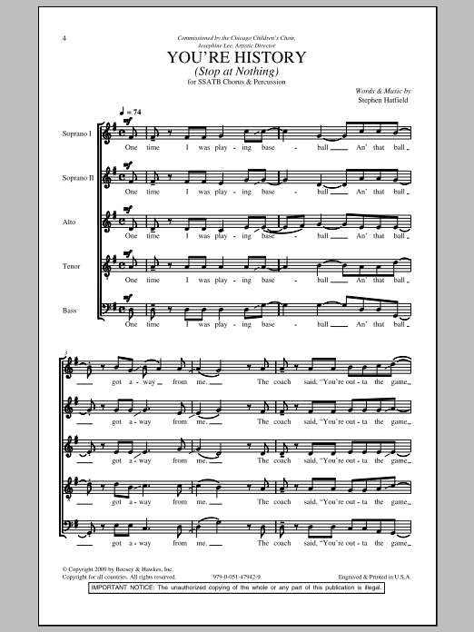 You're History (Stop At Nothing) Sheet Music