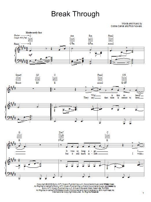 Partition piano Break Through de Colbie Caillat - Piano Voix Guitare (Mélodie Main Droite)