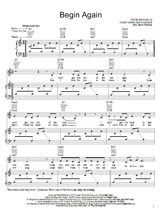 Begin Again Sheet Music