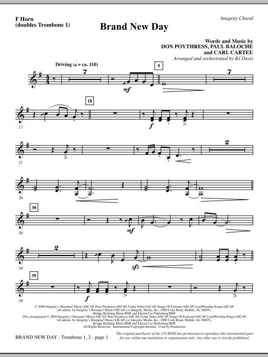 Brand New Day - F Horn (Trombone 1 Sub) Sheet Music