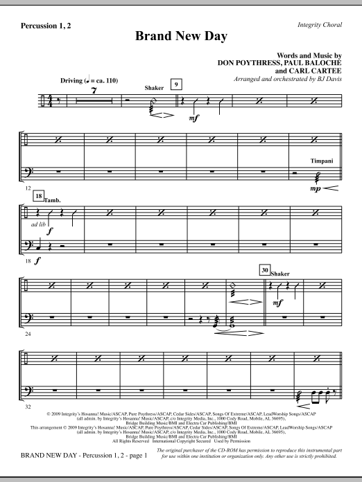 Brand New Day - Percussion 1 & 2 Sheet Music