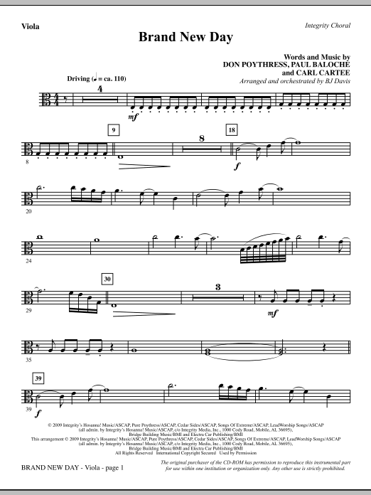 Brand New Day - Viola Sheet Music