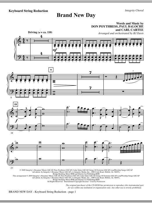 Brand New Day - Keyboard String Reduction Sheet Music