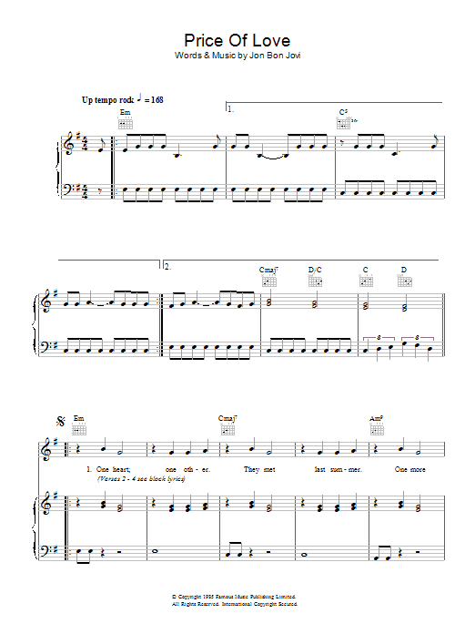 Price Of Love (Piano, Vocal & Guitar)
