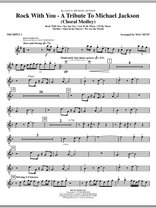 Rock With You - A Tribute to Michael Jackson (Medley) (complete set of parts) sheet music for orchestra/band (chamber ensemble) by Mac Huff and Michael Jackson. Score Image Preview.