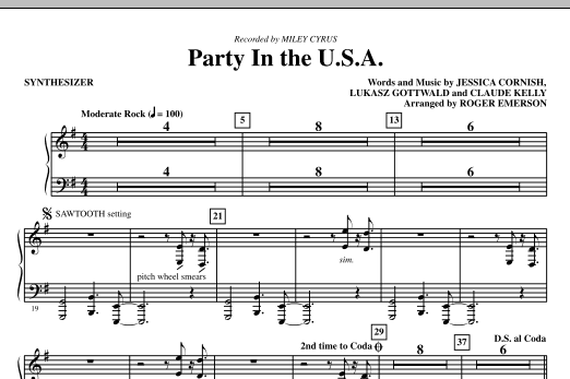 Party In The USA (complete set of parts) sheet music for orchestra/band (chamber ensemble) by Roger Emerson, Claude Kelly, Jessica Cornish, Lukasz Gottwald and Miley Cyrus. Score Image Preview.