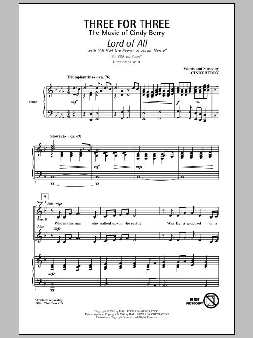 Three For Three - Three Songs For Three Parts - Volume 1 (SSA Choir)