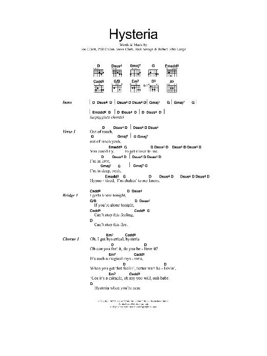 Hysteria Sheet Music Direct