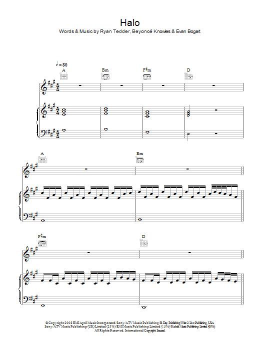 Halo (Piano, Vocal & Guitar)