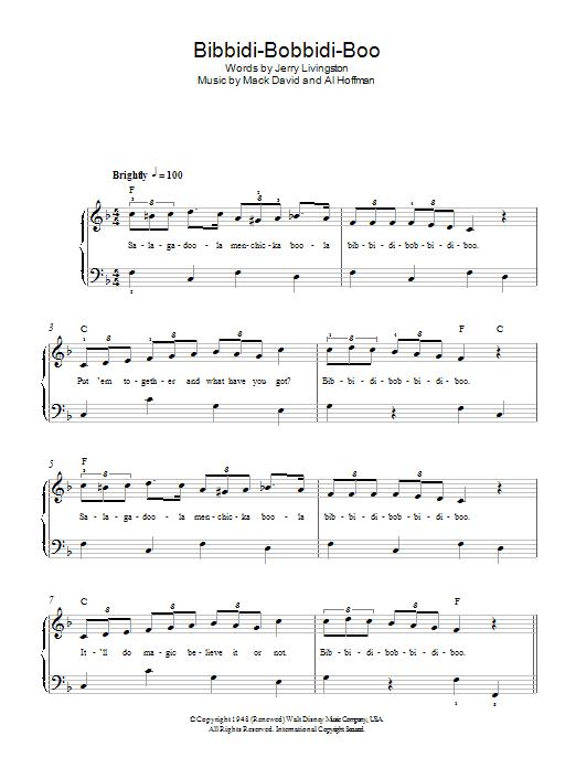 Bibbidi-Bobbidi-Boo (The Magic Song) (from Cinderella) Sheet Music