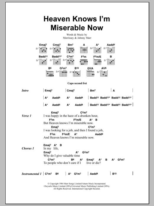 Heaven Knows Im Miserable Now By The Smiths Guitar Chordslyrics