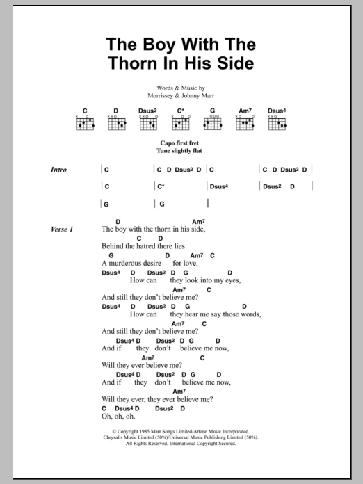 The Boy With The Thorn In His Side Sheet Music Direct