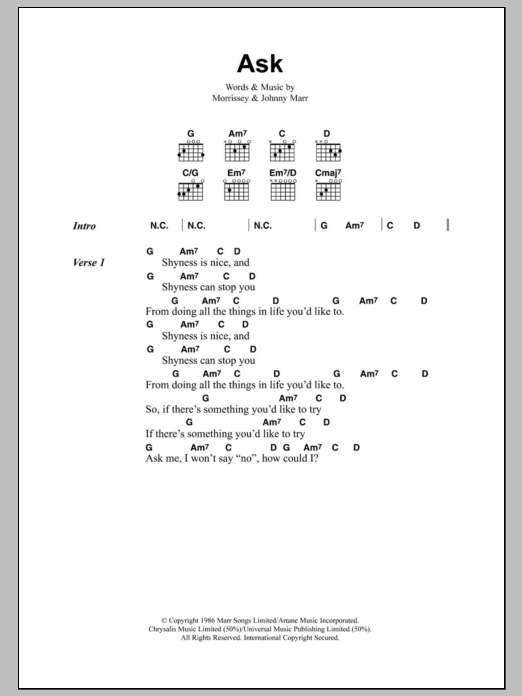 Ask by The Smiths - Guitar Chords/Lyrics - Guitar Instructor
