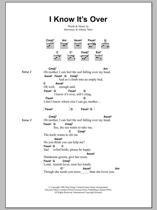 I Know It\'s Over by The Smiths - Guitar Chords/Lyrics - Guitar ...