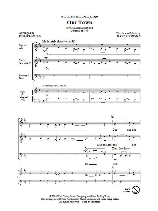 "Our Town (from Disney's ""Cars"") (arr. Philip Lawson) Sheet Music"