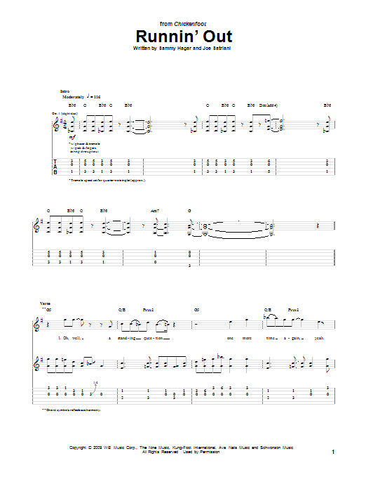 Runnin' Out (Guitar Tab)