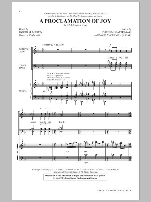 A Proclamation Of Joy Sheet Music