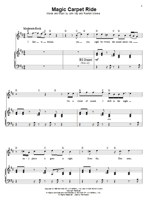 Partition piano Magic Carpet Ride de Steppenwolf - Piano Voix Guitare