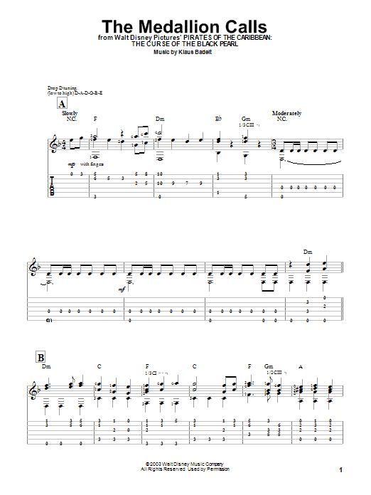 Tablature guitare The Medallion Calls de Klaus Badelt - Tablature guitare facile