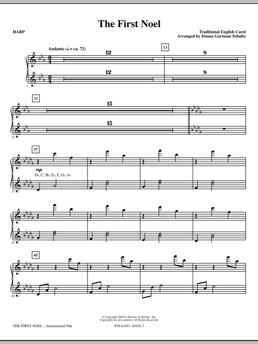 The First Noel - Harp Sheet Music