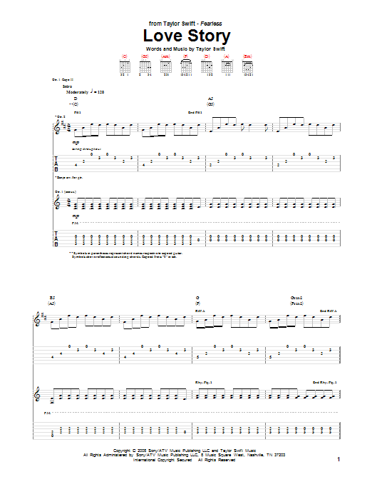 Tablature guitare Love Story de Taylor Swift - Tablature Guitare