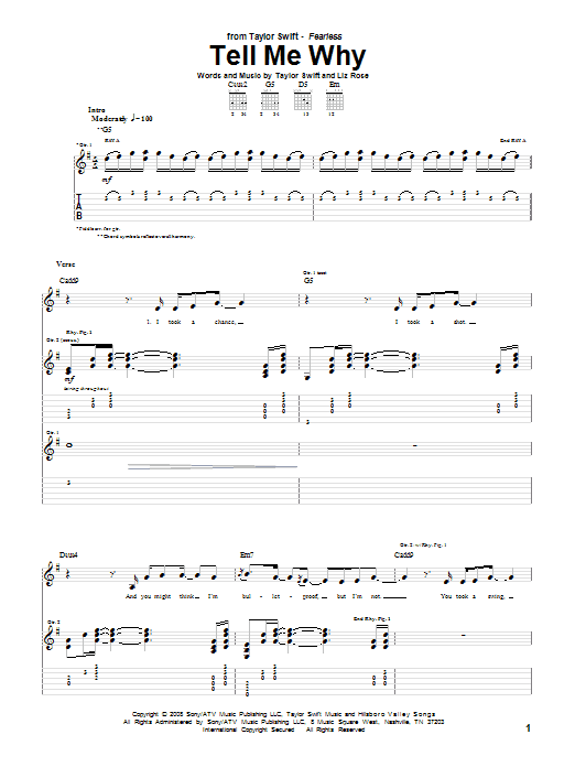 Tablature guitare Tell Me Why de Taylor Swift - Tablature Guitare