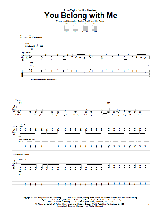 You Belong With Me Guitar Tab by Taylor Swift (Guitar Tab u2013 72907)
